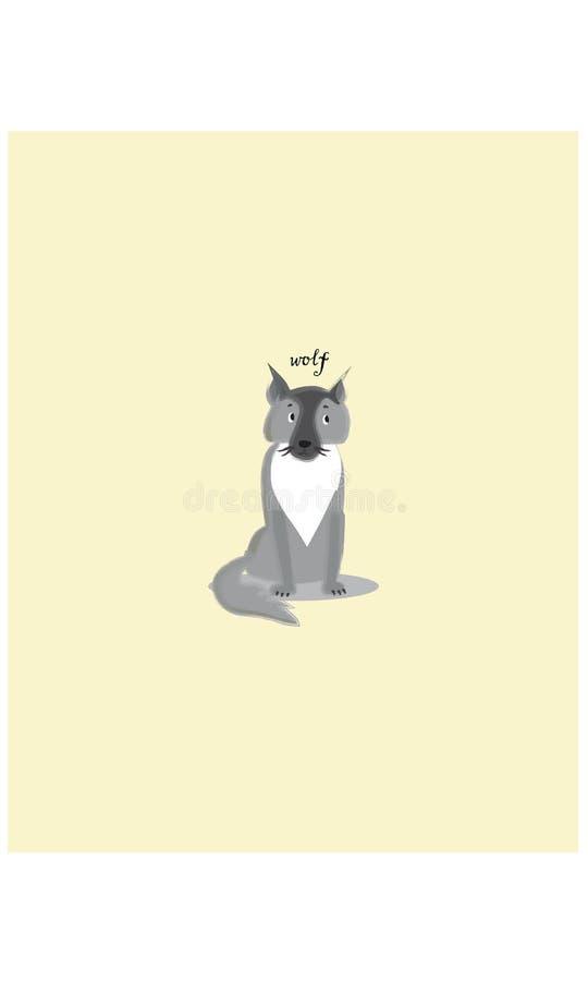 Gray sitting wolf cartoon character vector stock illustration