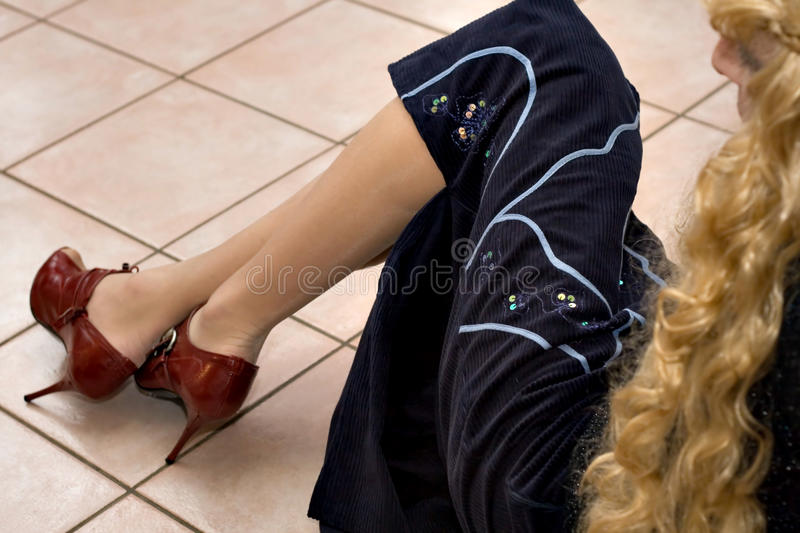Sitting on the ground stock photography