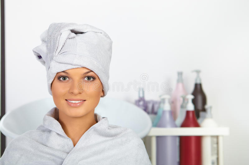 sitting in hair salon. stock image