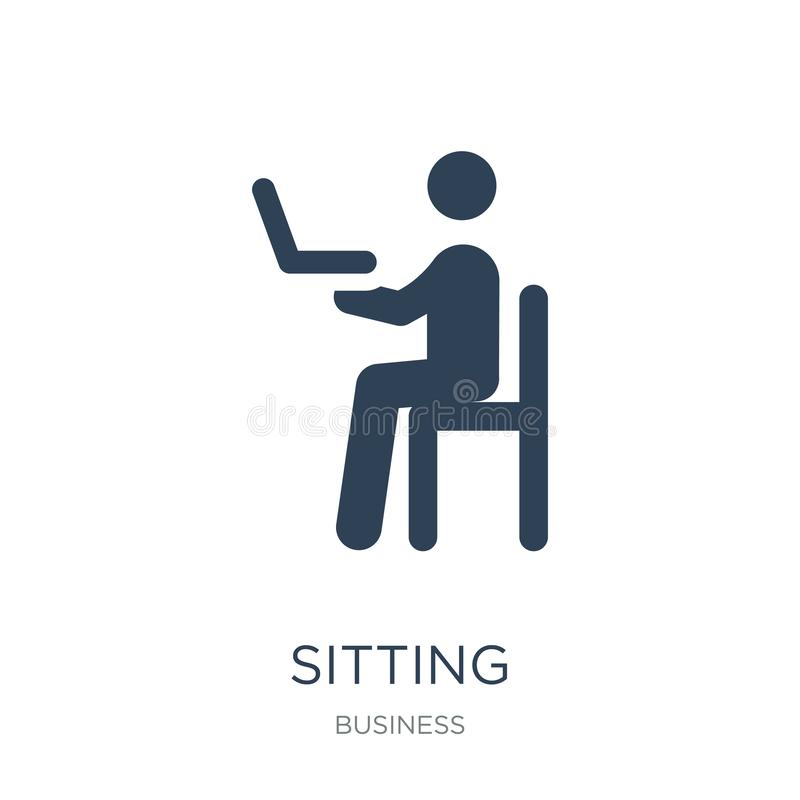 Sitting icon in trendy design style. sitting icon isolated on white background. sitting vector icon simple and modern flat symbol. For web site, mobile, logo royalty free illustration