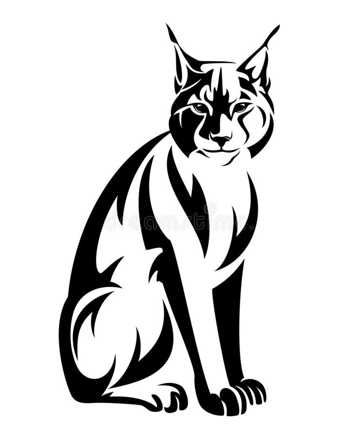 Free Sitting Lynx Black And White Vector Outline Stock Photo - 183051780