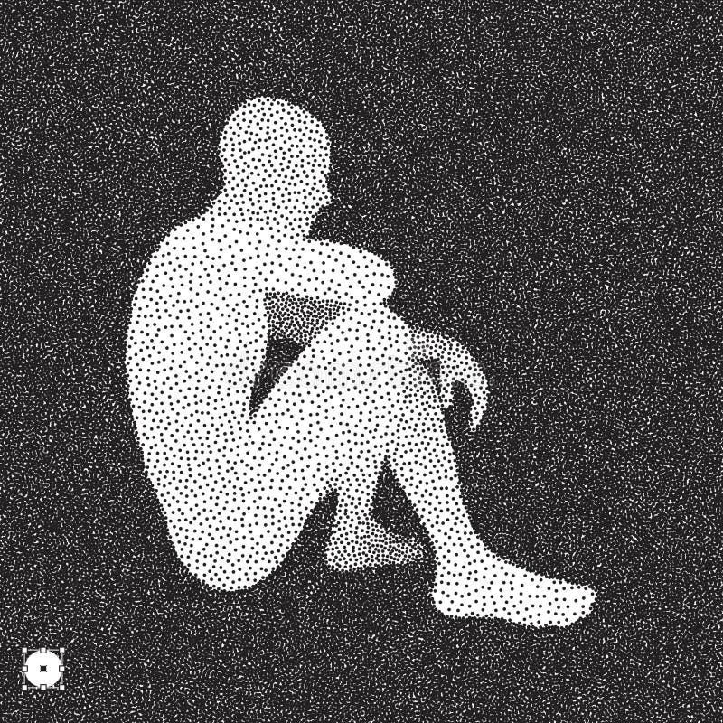 Sitting man 3D Man-model Zwart-wit, korrelig design Stippled illustratie royalty-vrije illustratie