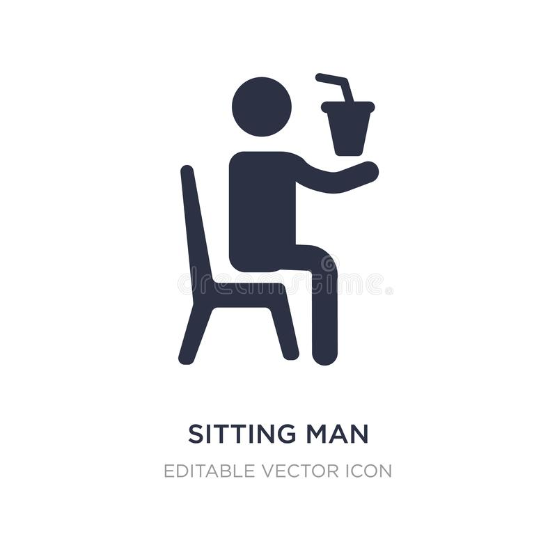 Sitting man drinking a soda icon on white background. Simple element illustration from People concept. Sitting man drinking a soda icon symbol design stock illustration