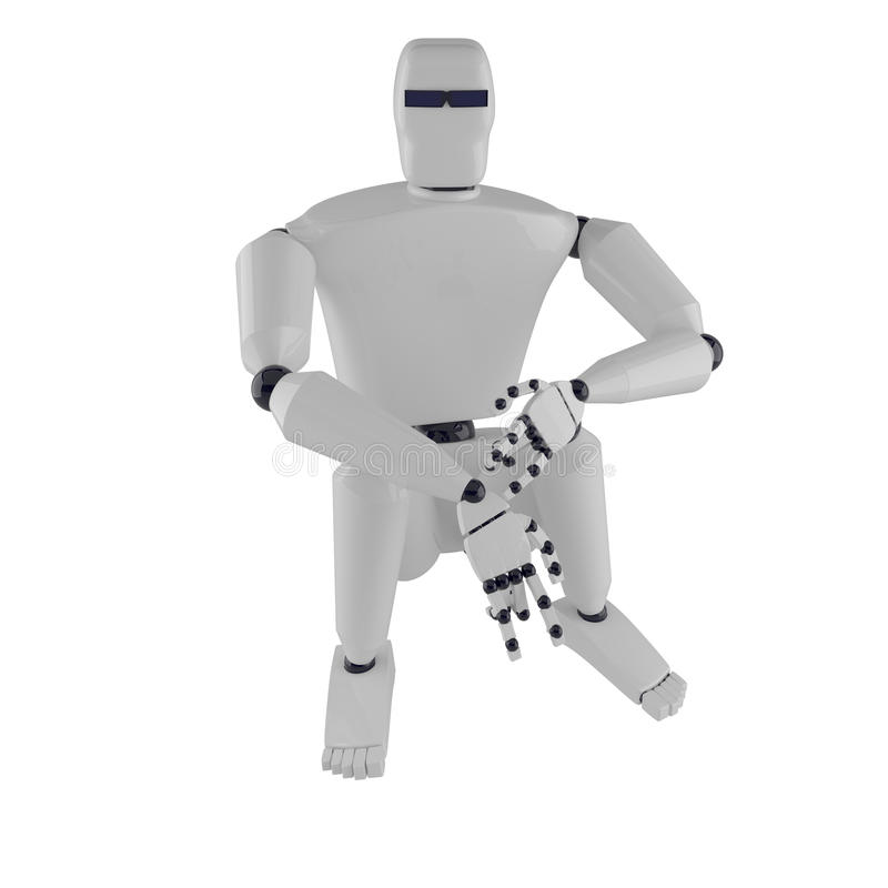 The sitting metal robot stock photography