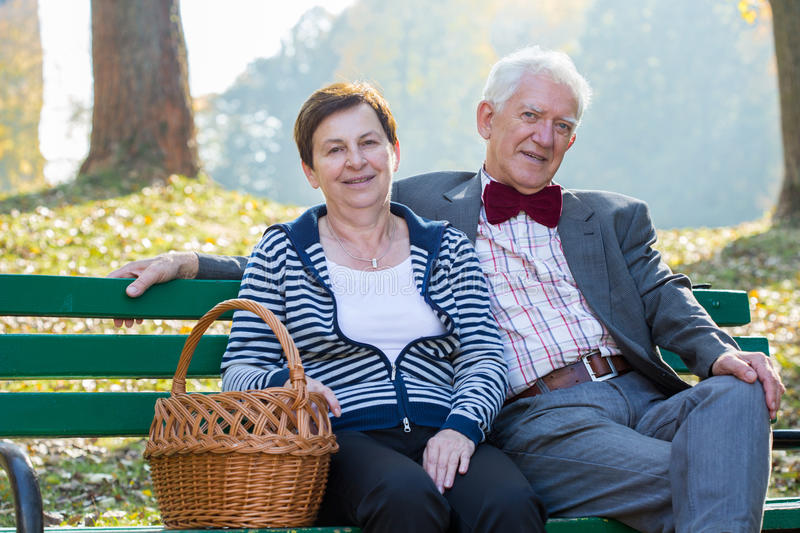 Sitting on a park bench royalty free stock images