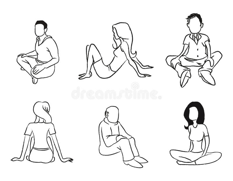 Download Sitting people outline stock vector. Image of ladies - 21297547