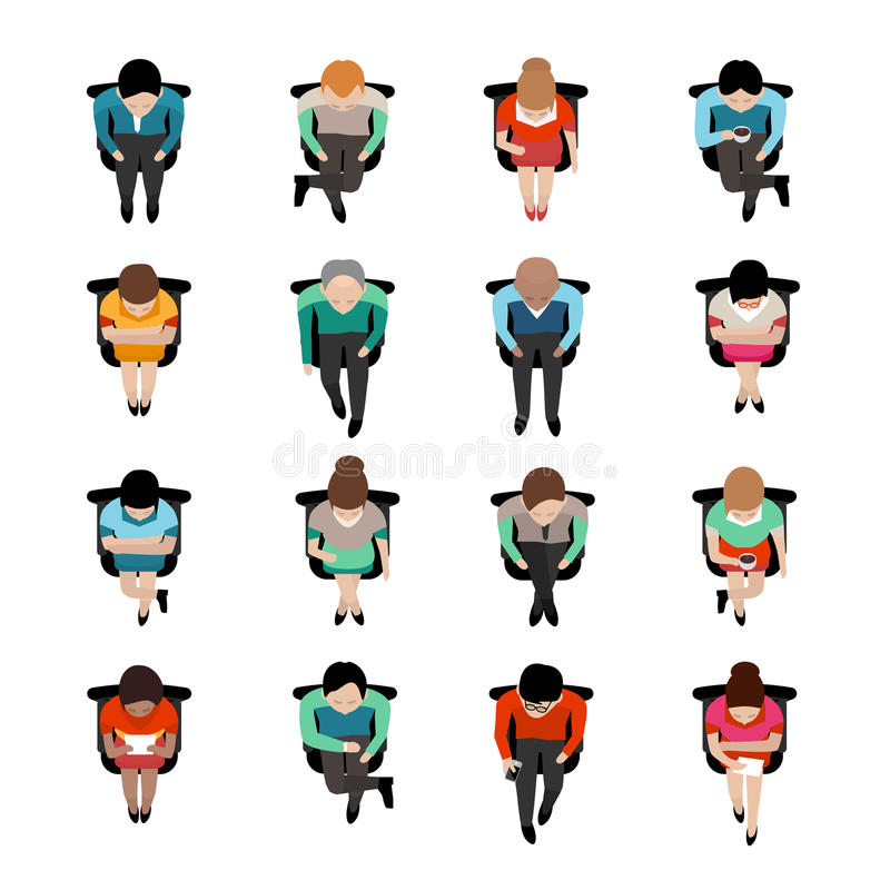 Sitting People Top View vector illustration