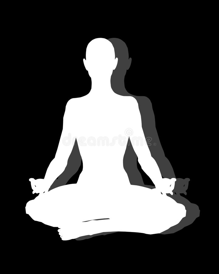 Sitting Position Yoga on Black. A background illustration featuring a simple 3 tone silhouette of a person sitting in a yoga or meditation position white on royalty free illustration