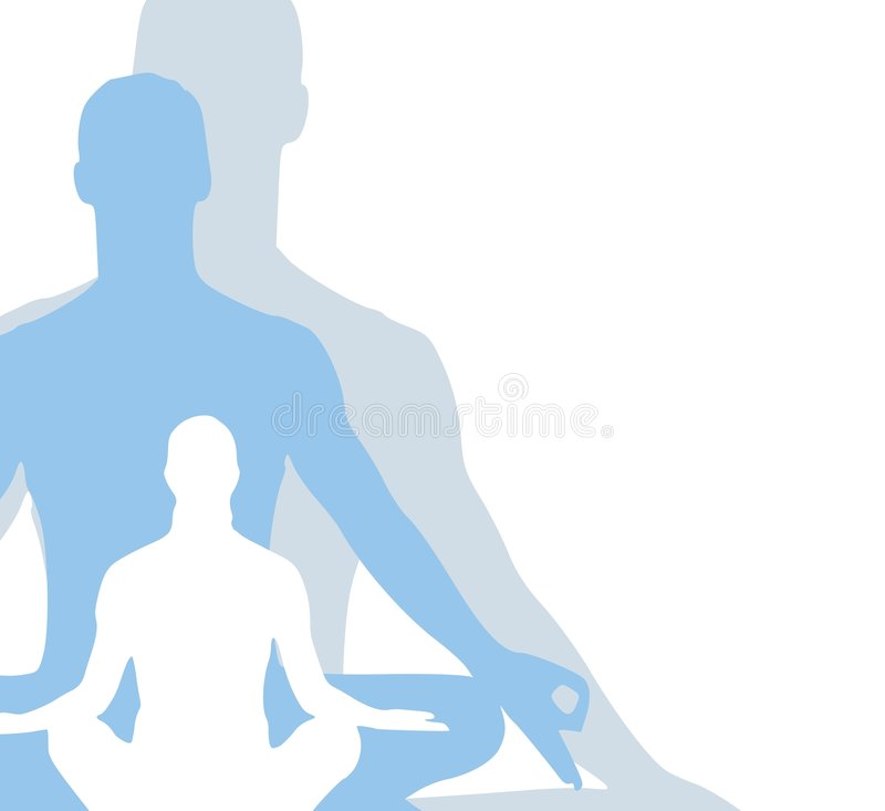 Sitting Position Yoga Figures. A background illustration featuring a simple 3 tone silhouette of a person sitting in a yoga or meditation position vector illustration