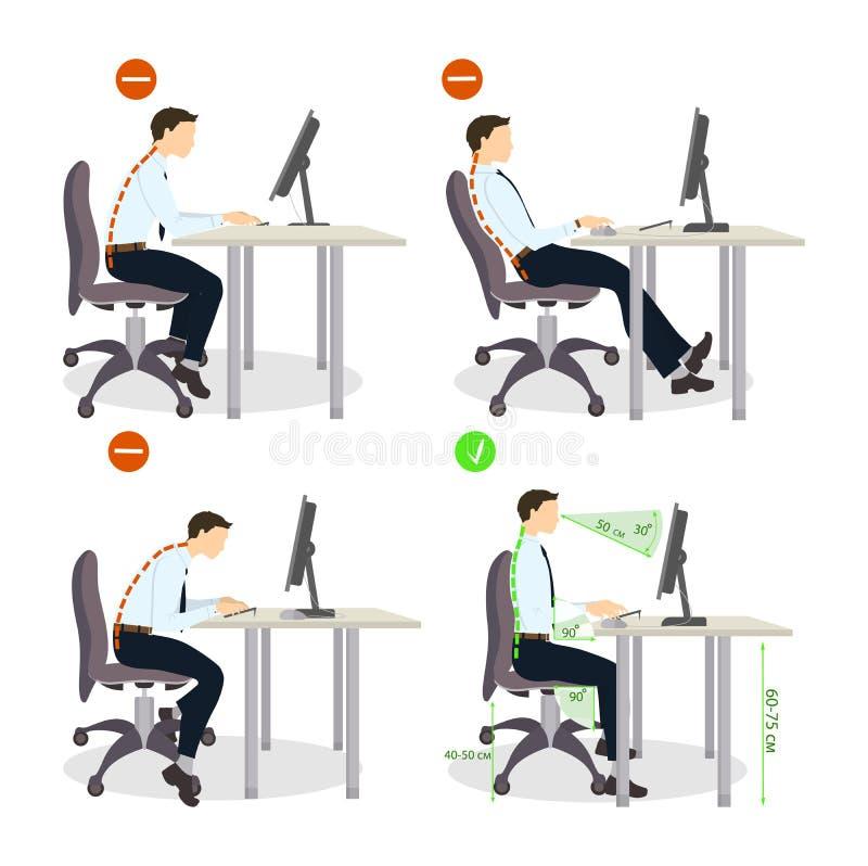 Sitting Posture Set Stock Vector Illustration Of