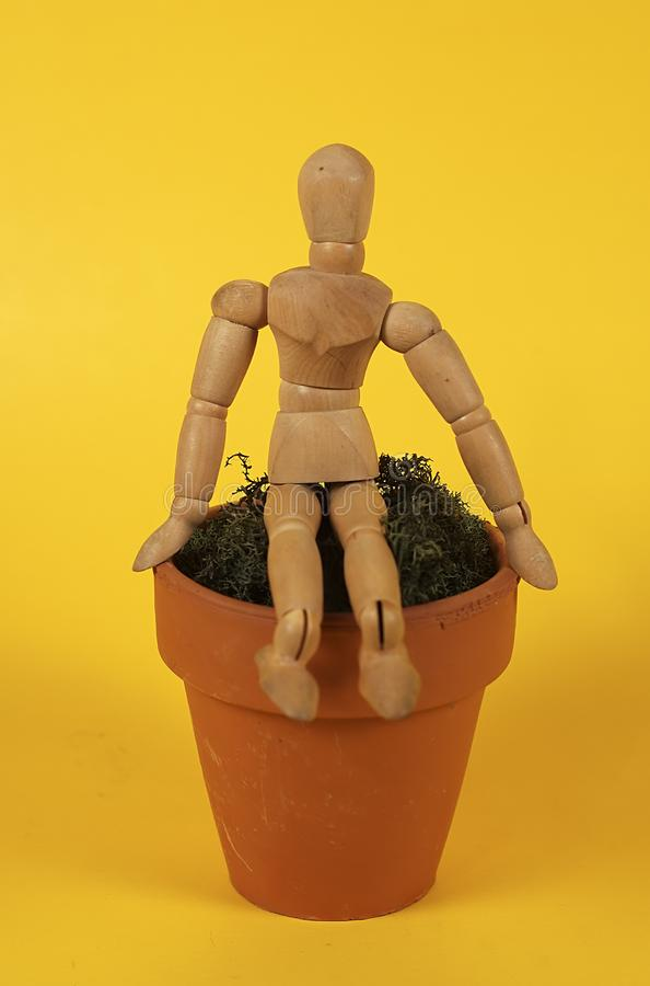 Download Sitting On The Pot stock photo. Image of moss, figure, mannequin - 19468