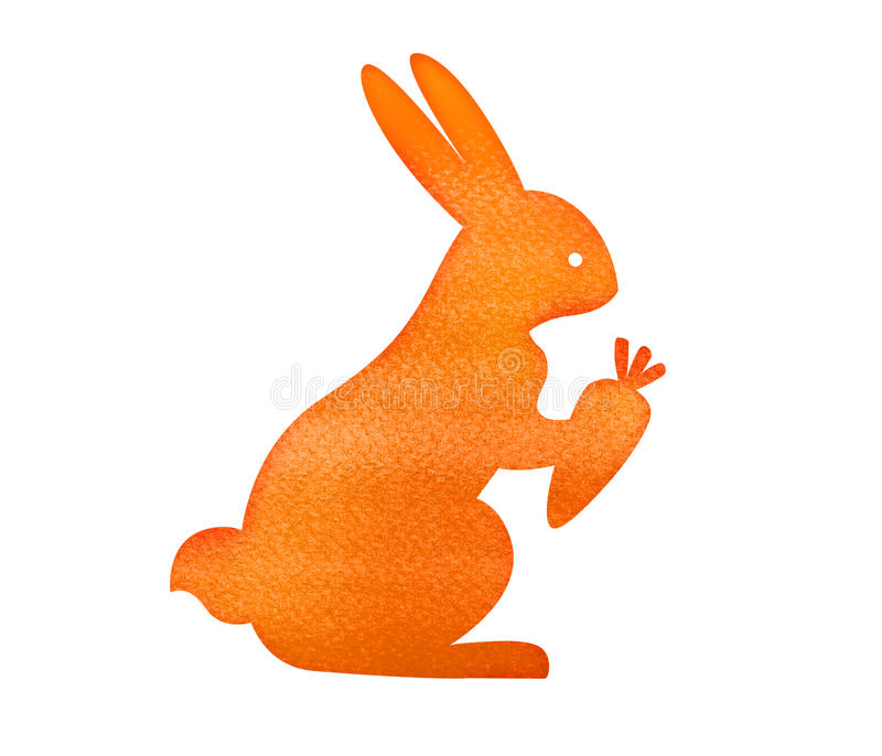 Sitting rabbit with carrot. Watercolor painting on white background vector illustration