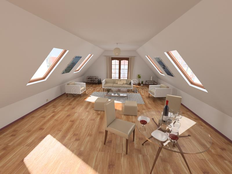 Download Sitting room in attic stock illustration. Image of designer - 13084300