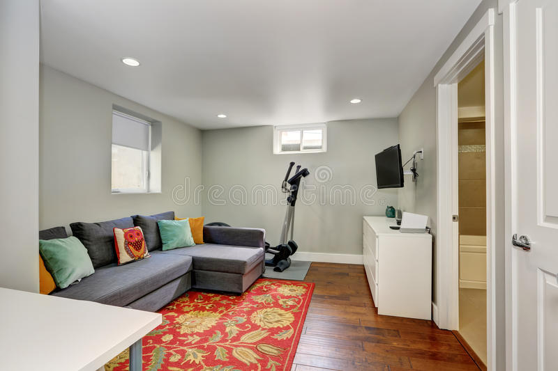 Sitting room interior with sport equipment in the basement royalty free stock image