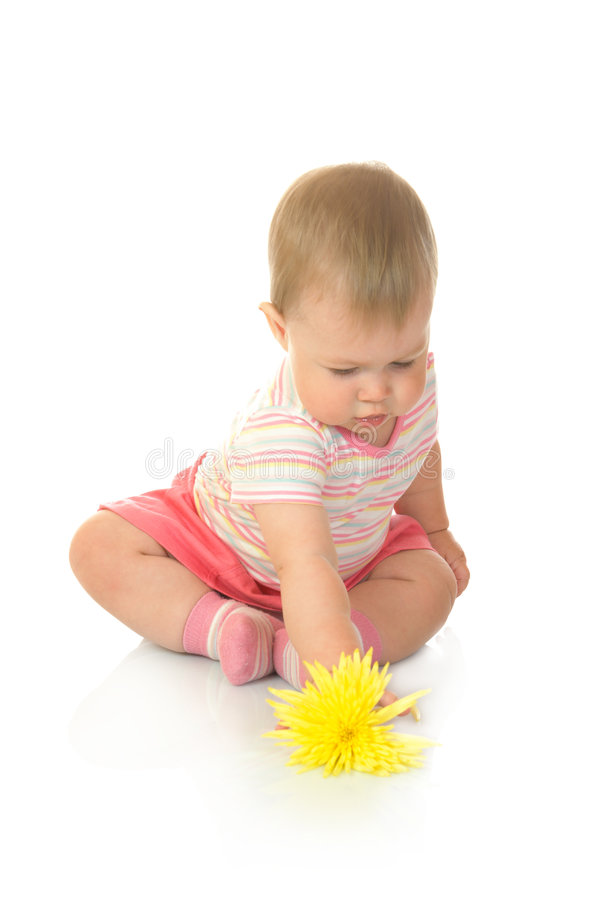 Free Sitting Small Baby With Yellow Flower 2 Stock Image - 6009451