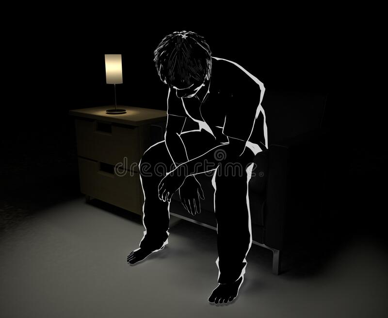 Sitting on the sofa and thinking. Alone in the middle of the night. Someone who is worried. 3D illustration royalty free illustration