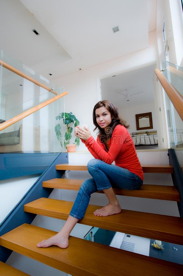 Sitting On Stairs royalty free stock image