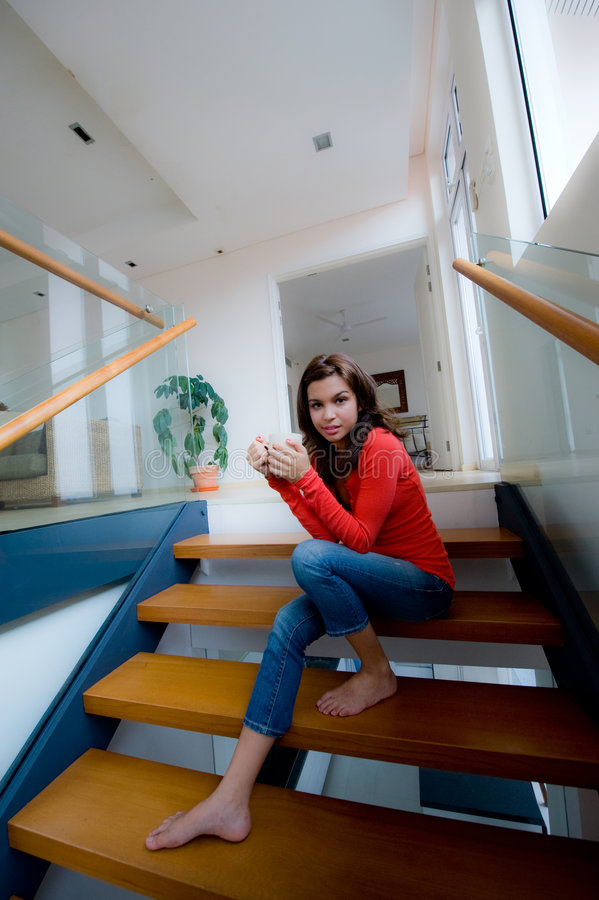 Download Sitting On Stairs stock image. Image of adult, female - 6419057