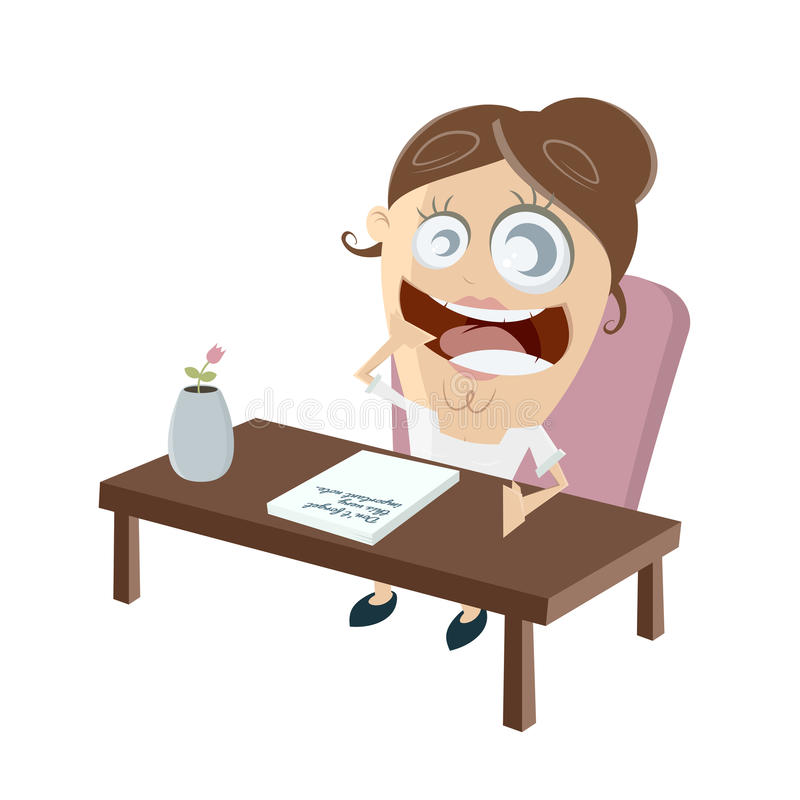Sitting on a table with an important note. Clipart of a woman sitting on a table with an important note royalty free illustration