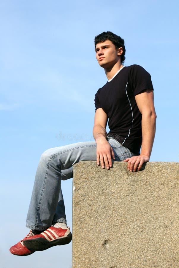 Download Sitting Teenager stock image. Image of gaze, portrait, jeans - 711831