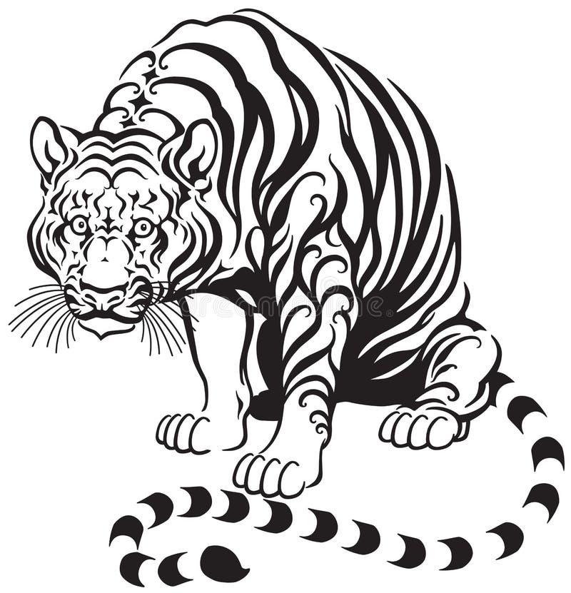 Sitting tiger vector illustration