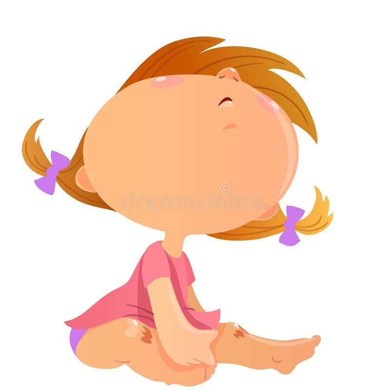 Sitting toddler girl cartoon vector image. Sitting toddler girl, cartoon vector image vector illustration