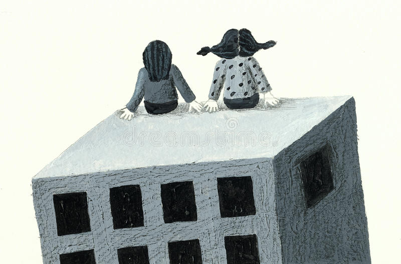 Sitting on the top of the building royalty free illustration