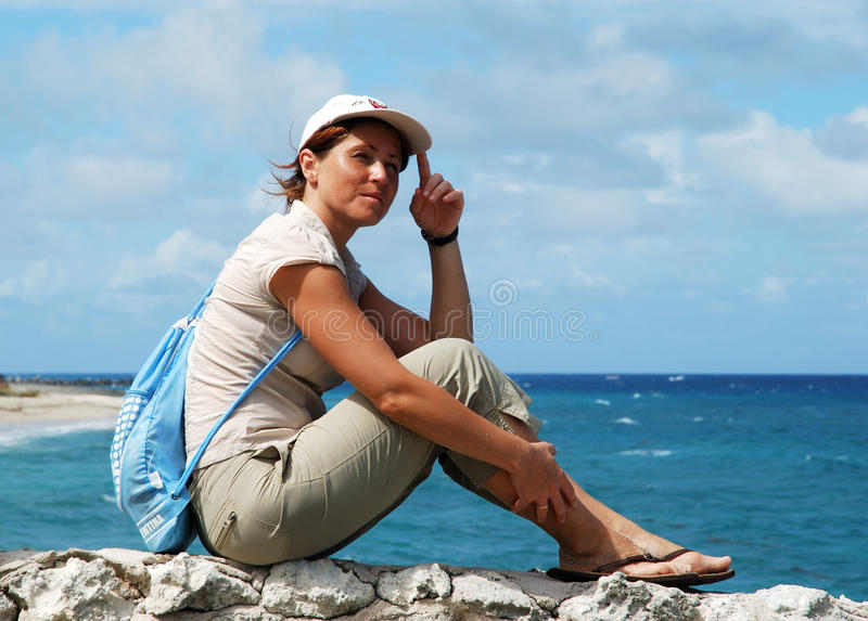 Download Sitting On A Wall stock photo. Image of people, island - 11877498