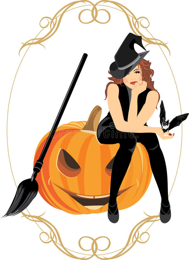 Sitting witch on the halloween pumpkin. Frame royalty free stock photo