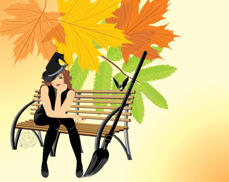 Sitting witch on the wooden bench. Halloween card stock illustration
