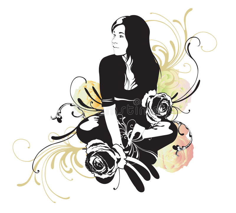 Download Sitting woman stock vector. Image of creative, flower - 5957205