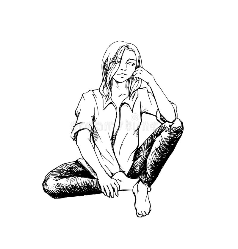 Sitting woman ink sketch vector royalty free illustration