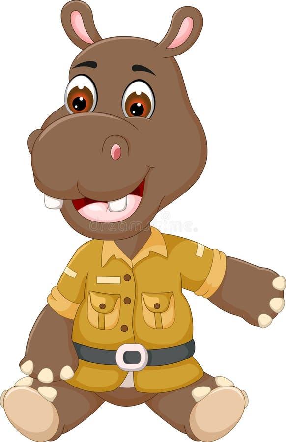 Sittinig bonito dos desenhos animados do hipopótamo do bebê com sorriso e ondulação ilustração do vetor