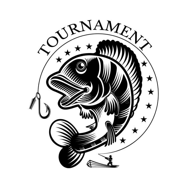 Sittpinnefisk och fishman med metspöet i engrving stil Logo för fiska, mästerskap- och sportklubba vektor illustrationer