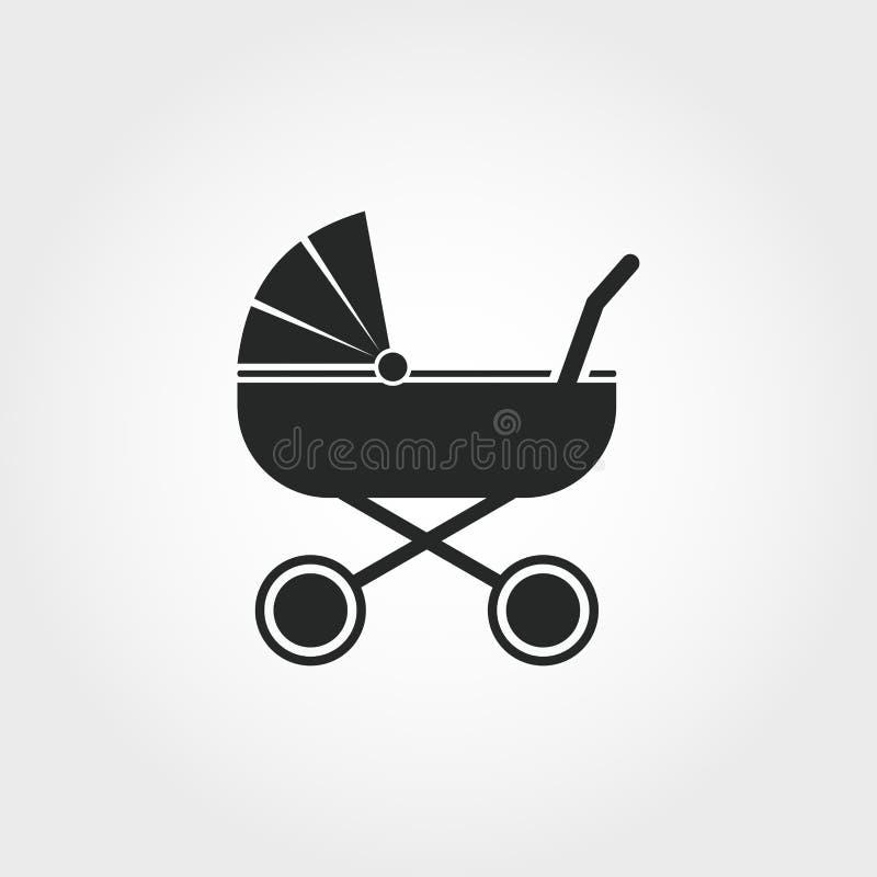 sittvagnsymbol Den monokromma stildesignen från behandla som ett barn sakersymbolssamlingen Ui För pictogramsittvagn för PIXEL pe stock illustrationer