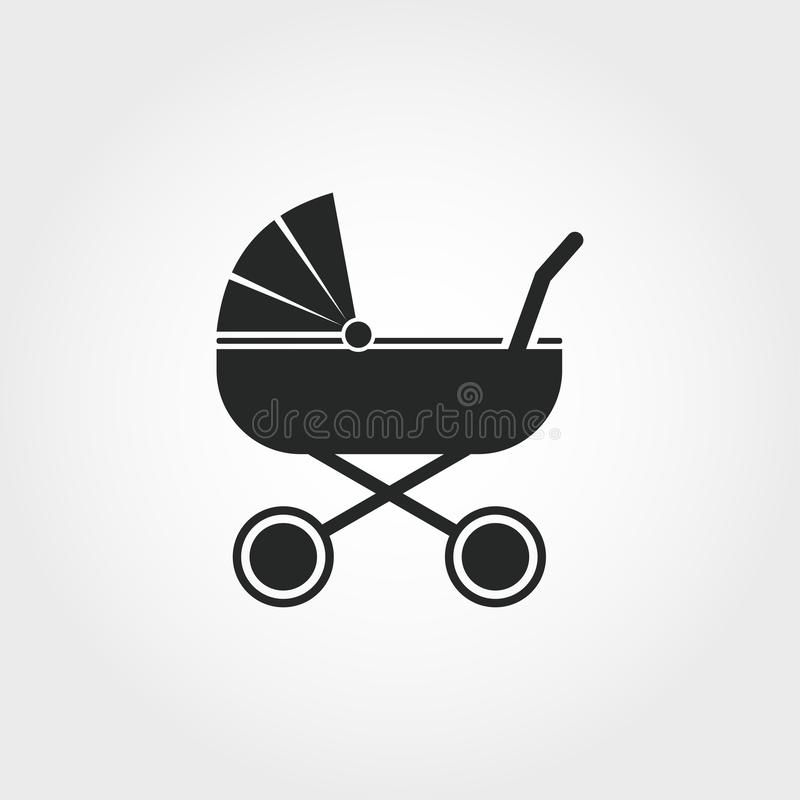 sittvagnsymbol Den monokromma stildesignen från behandla som ett barn sakersymbolssamlingen Ui För pictogramsittvagn för PIXEL pe vektor illustrationer