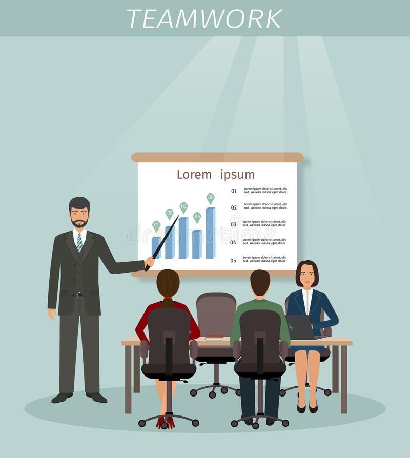 Situação de negócio com homens e empregado de mulheres Material da reunião do escritório Colegas masculinos e fêmeas ilustração stock