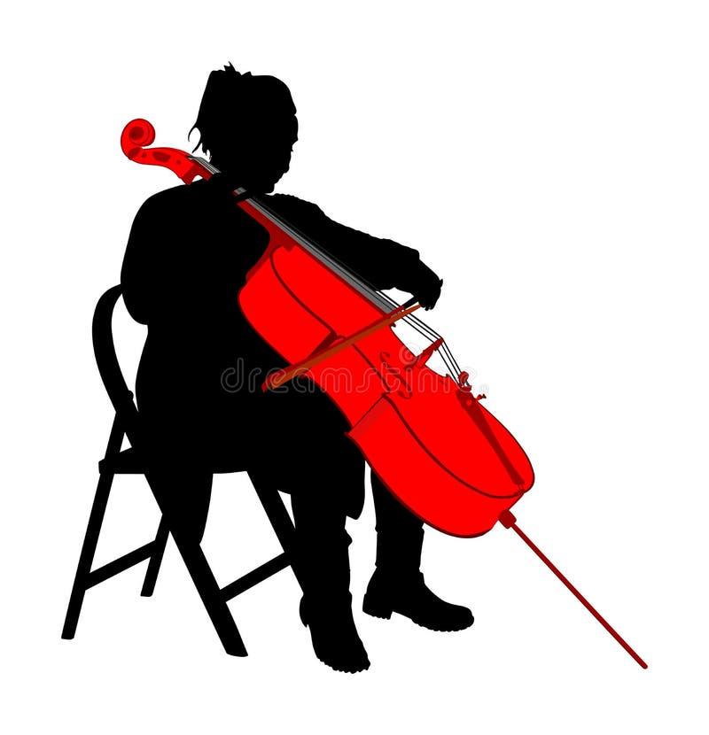 Situação do violoncelista da mulher e jogo da silhueta do vetor do violoncelo Instrumento da corda do jogo da menina do artista d ilustração royalty free