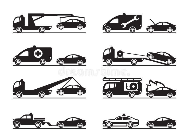 Situações de emergência na estrada ilustração stock