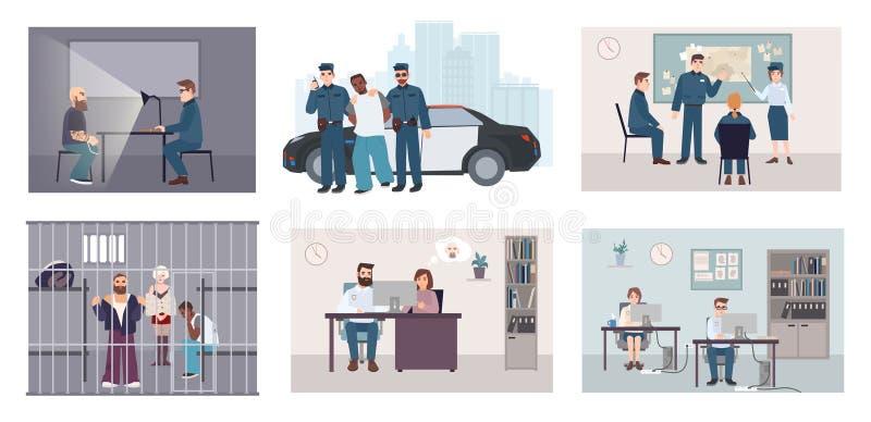 Situações diferentes na delegacia A polícia de caracterização ajustada colorida trabalha a apreensão, interrogação, retrato-robot ilustração stock