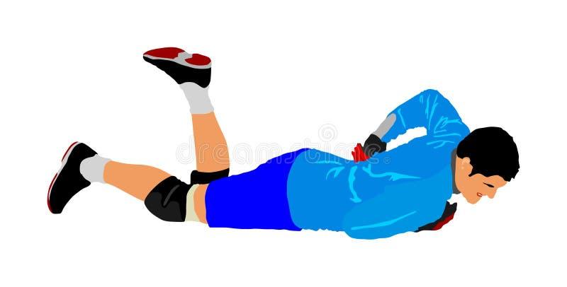 Situa??o hediondo, goleiros Desportista ferido no campo Cart?o vermelho Vetor do jogador de futebol ilustração do vetor