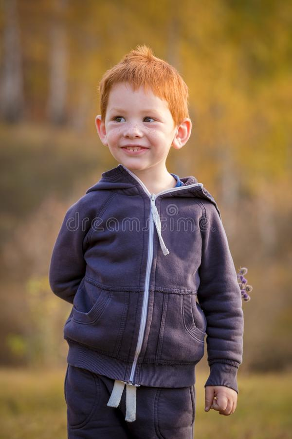 Situación adorable del niño pequeño en paisaje del otoño imagen de archivo