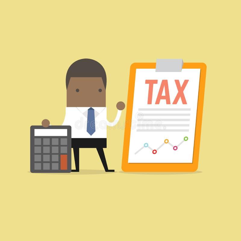 Situación africana del hombre de negocios con el documento del impuesto en el tablero y la calculadora de clip Concepto del pago  ilustración del vector