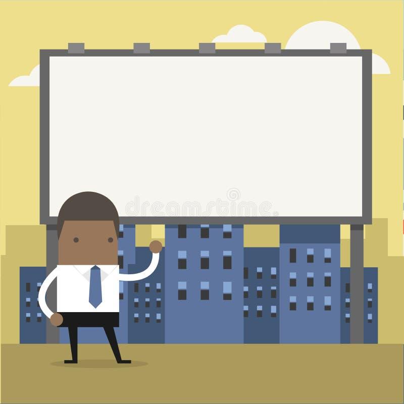 Situación africana del hombre de negocios delante de una cartelera grande ilustración del vector