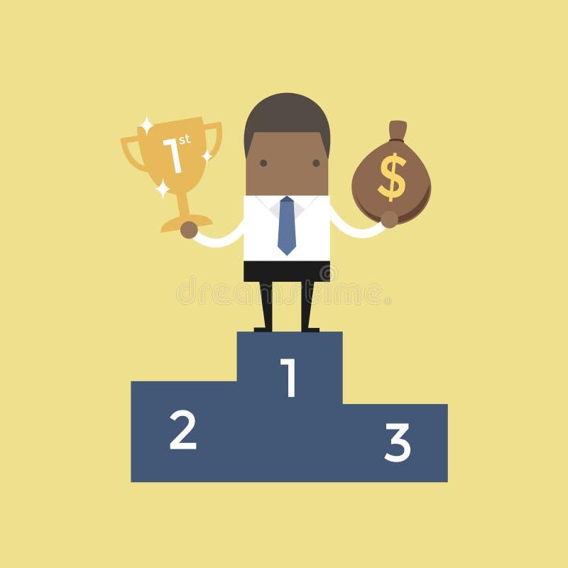 Situación africana del hombre de negocios en el trofeo de la tenencia del podio que gana y un bolso del dinero ilustración del vector