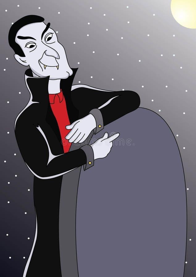 Situación asustadiza del vampiro al lado de la piedra sepulcral en el vector illustration-01 de la noche fotografía de archivo