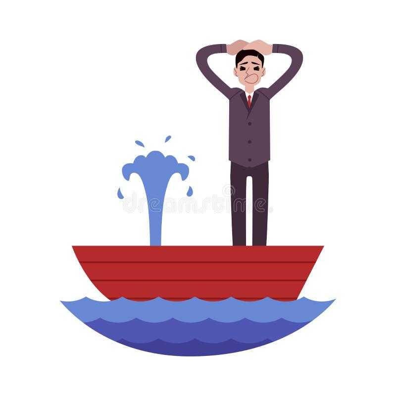 Situación aterrada del hombre de negocios en barco que se escapa y llevar a cabo el estilo principal de la historieta ilustración del vector