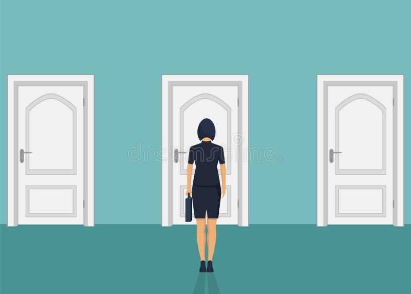 Situación de la empresaria delante de la puerta Elegir la manera Mudanza adelante ilustración del vector