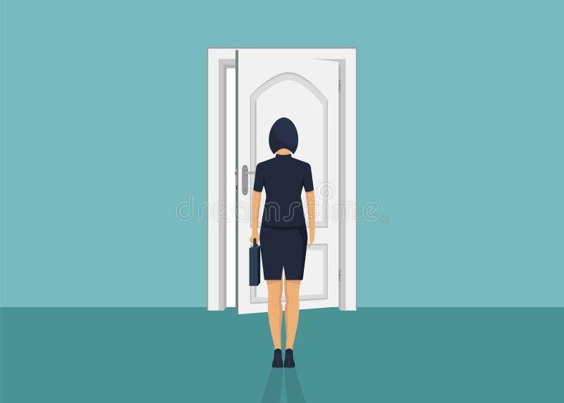 Situación de la empresaria delante de la puerta Elegir la manera Mudanza adelante stock de ilustración