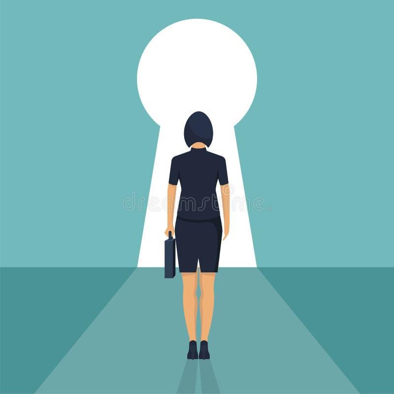 Situación de la empresaria delante de un ojo de la cerradura stock de ilustración
